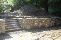 Stone wall grading and drainage