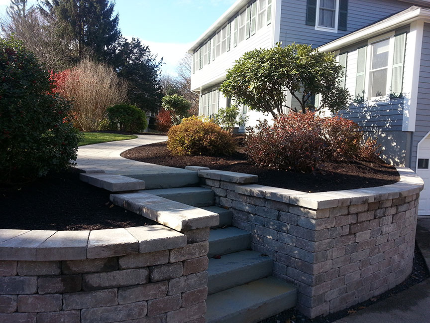 Front Walkway Retaining Wall Construction