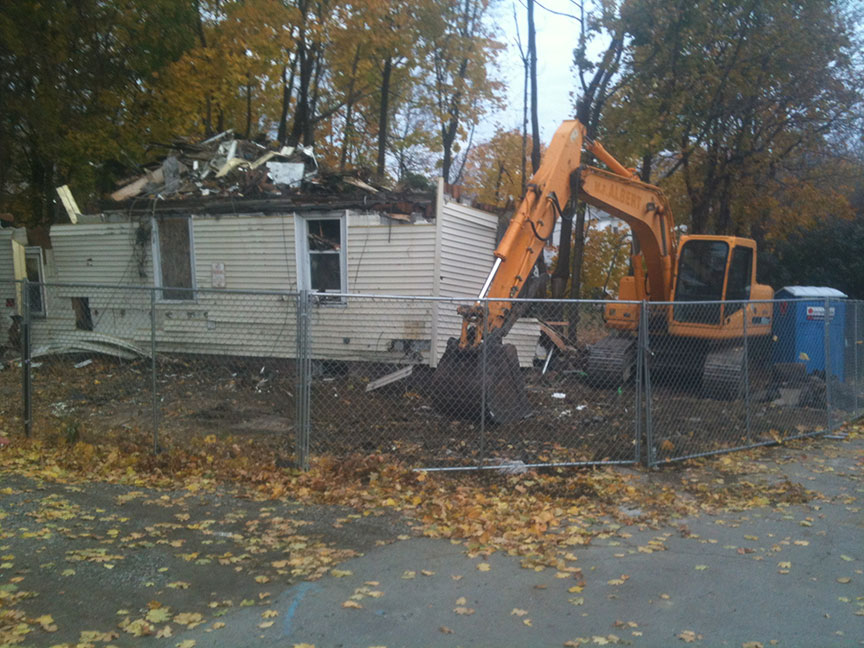 House being demolished after a fire.