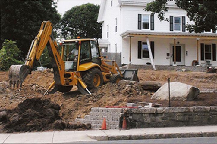 Excavation to remove bolders